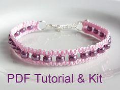 PDF Tutorial Kit, Beaded Square Knot Macrame Bracelet Pattern, Purple Seed Bead Adjustable Friendship Bracelet by Purple Wyvern Jewels
