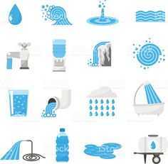 Buy Water Icons Set by macrovector on GraphicRiver. Water forms flat icons set with drop ocean wave rain and waterfall isolated vector illustration. Editable EPS and Ren. Flat Design Icons, Icon Design, Flat Icons, Logo Design, Icon Set, Water Icon, Paint Splash, Vector Photo, Vector Graphics