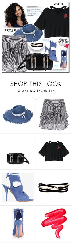 """""""Floral Embroidered Cold Shoulder Top"""" by lip-balm ❤ liked on Polyvore featuring Maison Michel, Aquazzura, Kenneth Jay Lane and Lime Crime"""