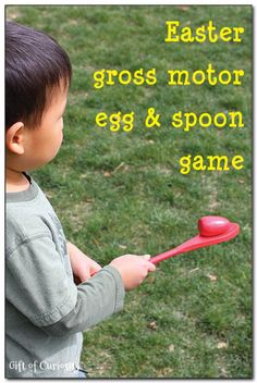 A simple Easter gross motor game involving balancing an egg on a spoon while running toward a target. - #Easter #kbn #grossmotor || Gift of Curiosity - repinned by @PediaStaff – Please Visit ht.ly/63sNtfor all our pediatric therapy pins
