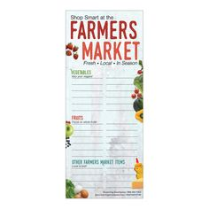"""3 ½"""" x 8 ½"""", 2-sided. Set of 10, 25 sheets per notepad +Only $2.50 per notepad! Nudge clients to choose more fresh fruits and vegetables with the Farmers Market Shopping List Notepads. The front side of the notepad features sections to write vegetables, fruits, and other farmers market items to help remember what farm fresh produce to pick up at the market. The backsides of the notepads offer helpful hints to select the freshest produce, keep perishables safe to eat, prevent bruising delicate it List Of Vegetables, Fresh Fruits And Vegetables, Grocery Delivery App, Vegetable Seasoning, Nutrition Education, Farmers Market, Healthy Choices, Helpful Hints, Encouragement"""