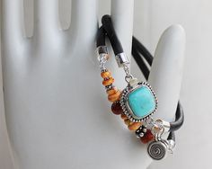 Coral and Turquoise silver bracelet - leather turquoise coral spiny oyster wrap bracelet bangle $160