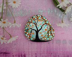 PLAGE pierre peinte / Pebble Art / Dot peint Pierre/Home Decor déco Rock / abstrait / arbre