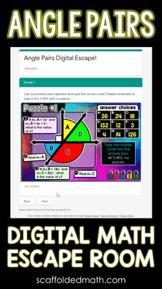 Students find the measures of complementary, supplementary, vertical and adjacent angles in this digital math escape room for 7th grade math. Teaching Geometry, Teaching Math, 7th Grade Math, Escape Room, Google Classroom, Math Activities, Angles, School Stuff, Curriculum