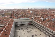 A view of St. Marks Square in Venice from the top of the Campanile Bell Tower. #venezia #panorama