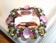 SOLD Schreiner NY massive glass center stone brooch Oftimesgoneby