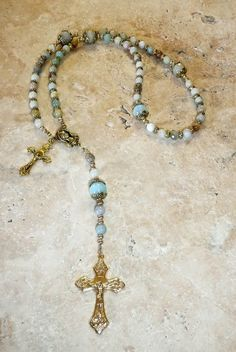 Natural Amazonite Antique Gold P Holy Mother by IslandGirl77, $45.00#heirloom