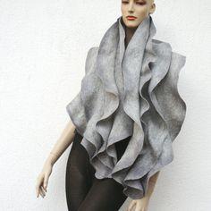 Felt ruffled scarf, gray merino wool -  Holiday Fashion
