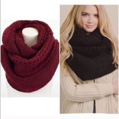 "⭐️LAST ONES!⭐️NWT Oversized Knit Infinity Scarf NWT Oversized Knit Infinity Scarf, available in 2 colors: Black, Burgundy. The softest knit with an oversized style, this will be your coziest scarf this season! Soft Polyester. Double layer infinity scarf, width is approx 20"", Length is 72"". No Trades and No Paypal Accessories Scarves & Wraps"