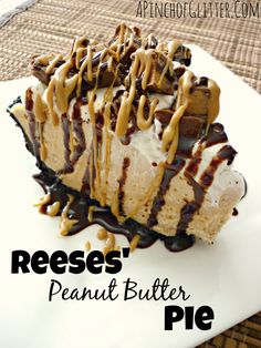 This Reese's Peanut Butter Pie is sure to knock your socks off. With a delicious no-bake peanut butter cheesecake filling and topped with Reese's Miniatures, you can't go wrong with this easy dessert. | mandysrecipeboxblog.com