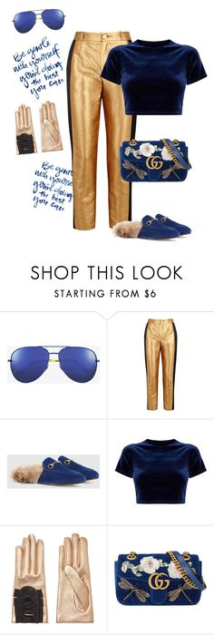 """""""Blue magic"""" by naughty-1 ❤ liked on Polyvore featuring Yves Saint Laurent, Lanvin and Gucci"""