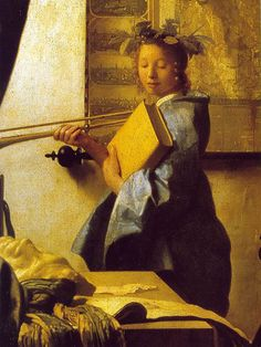 The Art of Painting, detail of model, (c.1666). Johannes Vermeer (Dutch, 1632-1675). Oil on canvas. Kunsthistorisches Museum, Vienna. The model is dressed as Clio, the muse of history. As the painter records her image, he is not so much the recipient of the muse's inspiration as the agent through whom she takes on life and significance. Clio wears a crown of laurel on her head to denote honor, glory, and eternal life. She holds a trumpet, which stands for fame, and clasps a thick ...