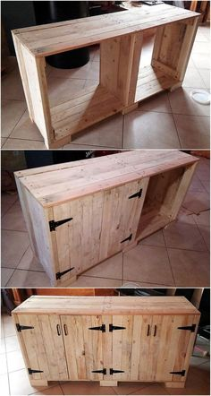 wooden furniture Lets craft this amazing pallets wood plan for your home. This DIY wood pallet buffet appears stylish as well as useful to store many different items in it. This two door wooden pallets buffet will provide you best storage capacity in it. Wooden Pallet Projects, Wood Pallet Furniture, Pallet Crafts, Woodworking Projects Diy, Wooden Pallets, Repurposed Furniture, Wooden Diy, Rustic Furniture, Diy Furniture
