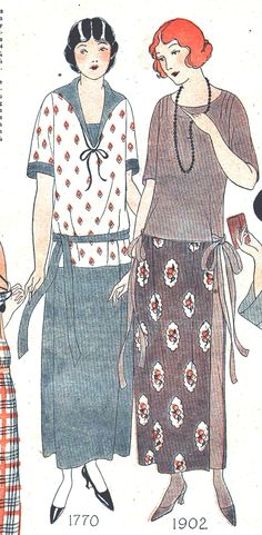 1924 Fashion World magazine. Two ladies 1920s day dresses with different pattern and solid tops and bottoms. This was a trend for a few years before returning to all one fabric.