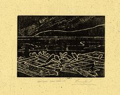 """""""Lummi Island Driftwood"""" hand-printed lino-cut on hand-made paper. A beautiful hand-printed lino-cut of driftwood on the shore, hand-printed onto hand-made paper. Signed and ready for matting and framing. 8.5 x 11"""" in size. The perfect gift for yourself or someone else!."""