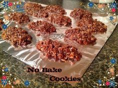 *~*~No Bake Cookies~*~*  Ingredients 1/2 c butter 4 Tbsp cocoa 2 c sugar 1/2 c milk 1 tsp vanilla Heaping spoonful peanut butter 3 c regular oats  Follow my pin, to see the full recipe. Come like my facebook page https://www.facebook.com/atmarysshareitforwardpage and visit my website www.coachmary.org