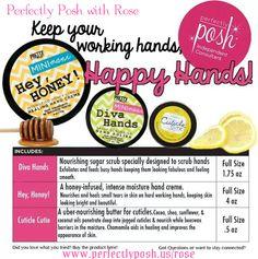 Hey Honey intense hand cream, Diva hands scrub, cuticle cutie cuticle cream. www.ItsPoshTime.com