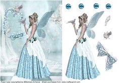 Fairy Vanity 2 on Craftsuprint designed by Mishara Armenia - Gorgeous blue fairy girl quick card - Now available for download!
