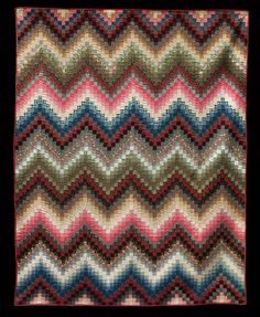 antique POSTAGE STAMP (Zig Zag Variation) circa 1880.  Bargello variation. 76 x 94 inches. Esprit collection, at The Quilt Complex