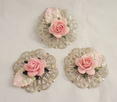 Handmade Elegant Shabby Cottage Chic Rose Metal Accents by Becky #handmade
