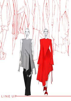 BA degree final collection Draping collection inspired by 'the red thread'. Fashion Illustration Sketches, Illustration Mode, Fashion Sketchbook, Fashion Design Portfolio, Fashion Design Sketches, Fashion Drawings, School Fashion, Fashion Art, Fashion Trends