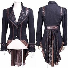 Sexy Black Gothic Burlesque Dress Tail Jacket Scene Clothing for Women SKU-11401515