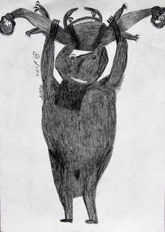 """Davood Koochaki : Human-like figures and mysterious creatures developed from his initial marks on paper, and grew in both scale and intensity.  Koochaki works intuitively, allowing the compositions to evolve without a formal plan. According to the artist, """"I try to draw beautifully, but this is the way it comes out. Maybe it has to do with my difficult past. I begin to draw a few lines, look at them, and then I see a figure coming that I can draw."""""""