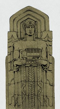 """Day 88/100  The Guardians of Traffic  These art deco style pylons stand guard over the Lorain-Carnegie bridge (now known as the Hope Memorial Bridge) that separates the east and west side of Cleveland. The 8 figures were carved in sandstone and created by sculptor Henry Hering and architect Frank Walker. They were meant to """"typify the spirit of progress in transportation"""", so each figure holds a different form of ground transport.  Fun fact."""