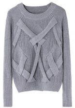 Grey Reglan Sleeve Cross Bandage Vertical Stripe Knitting Sweater