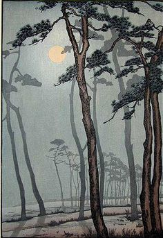 love the haziness.....Frank Brangwyn - Moonlight, Bournemouth    Colour woodcut
