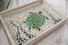 seaglass art | little glue, sea glass, and non-sanded white grout turned a plain ...