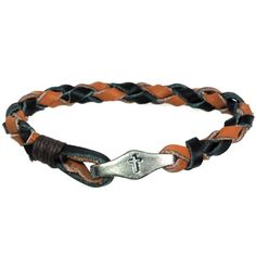 """Edgy braided leather bracelet in black and tan features weathered pewter tag clip closure engraved with cross. 8.5"""" long."""