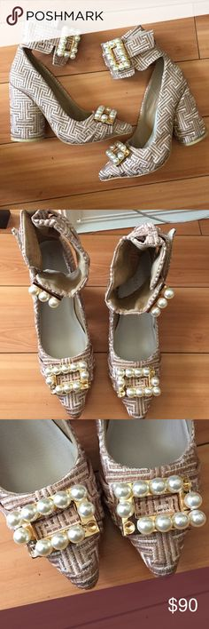 "NEVER WORN‼️ Jeffrey Campbell Kozue Pearl Heels Never worn pair of Jeffrey Campbell heels. Size 9. Pearls missing from top buckles (2 on right shoe, 2 on left shoe) and one pearl missing from right side buckle. Heel approx 4.5"". No box. Jeffrey Campbell Shoes Heels"