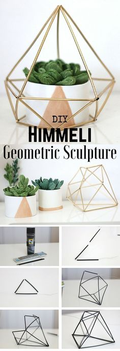 Easy Diy Home Decor Ideas - Design your own geometric .- Easy Diy Home Decor Ideas – Gestalte deine eigene geometrische Skulptur – UPCYCLING IDEEN Easy Diy Home Decor Ideas – design your own geometric sculpture, # own - Easy Home Decor, Handmade Home Decor, Cheap Home Decor, Easy Diy Room Decor, Decor Room, Diy For Room, Wall Decor, Decor Crafts, Diy And Crafts