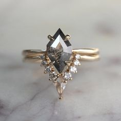 1.60 Carat Geometric Diamond Engagement Ring, Jane Setting, 14k Yellow Gold #uniqueengagementring