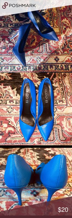 """ALDO Ocaria 4.25 inch Cobalt Blue Pointed Heels These heels are perfect for a night out on the town! Cobalt blue, like new. 4.25"""" heels with the pointed toe. Faux skin finish. Size 7.5 (US) 38 (Eur). A few wear marks on body. Sexy heels. Ocaria style. Aldo Shoes Heels"""