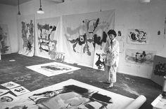 Helen Frankenthaler with works in progress in her studio, 1961. Photograph by André Emmerich. source: Frankenthaler Foundation.
