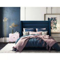 in by Tov Furniture in Tustin, CA - Koah Navy Velvet Bed in King Blue And Gold Bedroom, Navy Blue Bedrooms, Blue Master Bedroom, Blue Bedroom Decor, Room Ideas Bedroom, Bedroom Colors, Home Bedroom, Navy Blue Bedding, Jewel Tone Bedroom