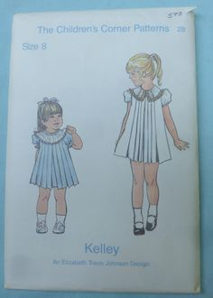 Kelley Pleated Dress Pattern by The Children's Corner Patterns, Sizes 7, 8, and 10 Available - B