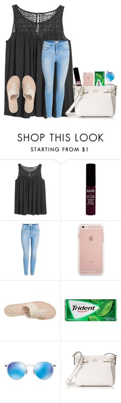 """""""day 2 of my volleyball tournament today"""" by texasgirlfashion ❤ liked on Polyvore featuring H&M, NYX, Jack Rogers, Ray-Ban and Kate Spade"""