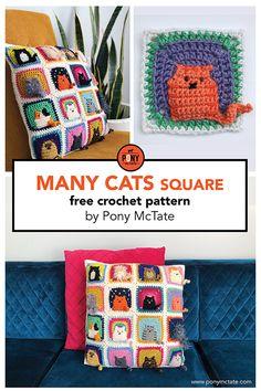 Many Cats square // free crochet pattern