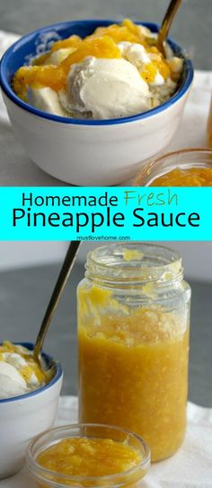 Thick, sweet and chunky Fresh Homemade Pineapple Sauce will bring tropical flavor as a topper for your next ice cream sundae or pound cake. Pineapple Sauce, Pineapple Desserts, Pineapple Ice Cream Topping Recipe, Pineapple Recipes, Sundae Toppings, Ice Cream Toppings, Banana Recipes, Ice Cream Recipes, Best Nutrition Food