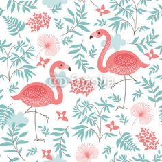 Wall Mural seamless pattern with a pink flamingo - Photo Wallpaper • PIXERSIZE.com