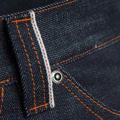 Details of 14oz raw denim selvedge pants.