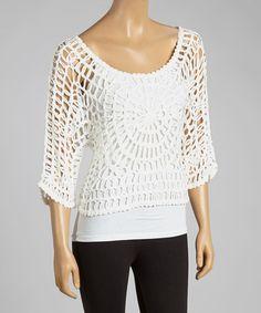 Look at this #zulilyfind! White Open-Crochet Silk-Blend Top by Pretty Angel #zulilyfinds