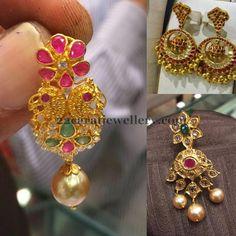 Jewellery Designs: Antique Finish Ruby Chandbalis