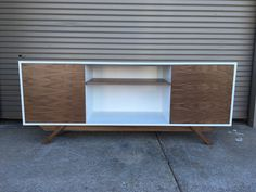 White laquer credenza walnut doors walnut by draftwooddesign