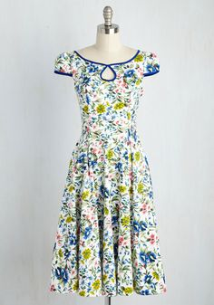 Botany Jubilee Dress. A celebration of your botanical breakthrough calls for this white midi! #multi #modcloth $90
