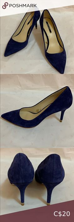 Shop Women's Zara Purple size 6 Heels at a discounted price at Poshmark. Description: Brand Name: ZARA Basic Pumps Size: US 6 Colour: Royal Purple Suede Heel Height: 3 inches. Suede Heels, Shoes Heels, Pumps, Purple Suede, Zara Shoes, Kitten Heels, Colour, Closet, Stuff To Buy