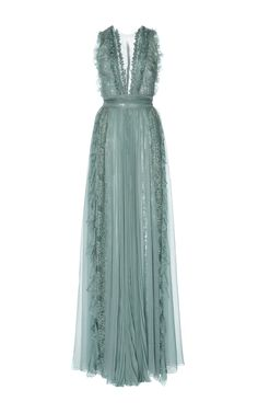 Zuhair Murad Pleated Chiffon And Lace Dress vestido longo Bridesmaid Dresses, Prom Dresses, Formal Dresses, Couture Dresses, Fashion Dresses, Lace Dress, Dress Up, Outfit Trends, Event Dresses